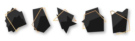 Polygonal abstract geometric black banner with gold line frame set. Empty template for any design, card text. Luxury decorative modern polyhedron frame element. Isolated on white vector illustration