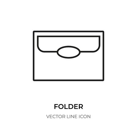 Black line folder icon. Linear symbol graphic document file.