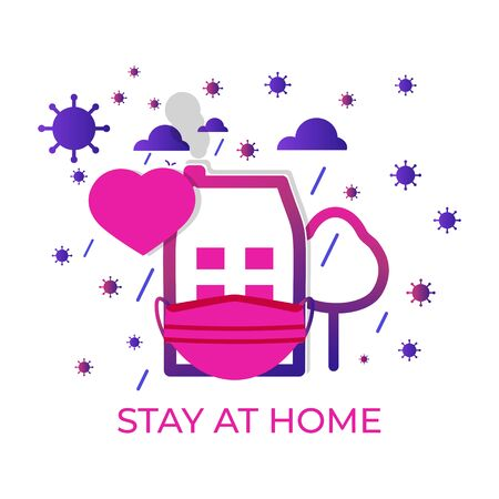 Stay at home banner closeup. Template with heart and mask. COVID 19 or quarantine. Poster with text stay home, stay safe-isolation. Clouds rain. Global viral epidemic or pandemic. Vector illustration