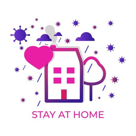 Stay at home banner closeup. Template with heart. COVID 19 or quarantine. Poster with text stay home, stay safe-isolation. Clouds rain. Global viral epidemic or pandemic. Vector illustration Иллюстрация