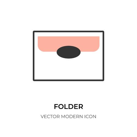 Flat line folder icon. Design symbol graphic document file. Shape  for app contact information directory. Simple contour archive, stationery office. Isolated on white vector illustration