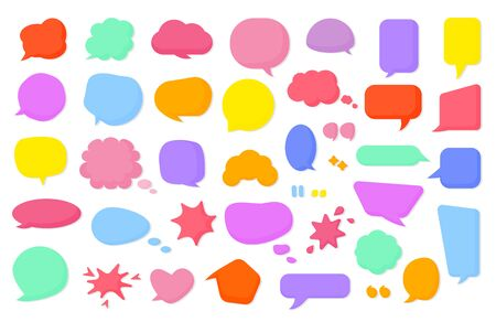 Colored cartoon comic retro speech soap bubble set. Empty text box different shapes balloons, clouds. Funny comics message, bubbles gum blank icon template. Isolated on white vector illustration 일러스트