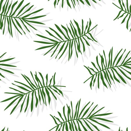 Green tropical palm leaves or pine branch seamless pattern. Limitless background with floral flat cartoon elements, botany sign. Repeat ornament for paper wrap, fabric, print. Vector illustration
