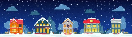 Winter night street with house, snow tree, bush cloud, lantern flat cartoon card. Merry Christmas and Happy New Year holiday panoramic horizontal banner. Urban landscape Decorative vector illustration