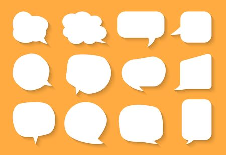Comic speech bubble set. Cartoon empty text box clouds on orange background. Abstract icon different shapes flat blank doodle bubbles. Comics message balloon template. Isolated vector illustration