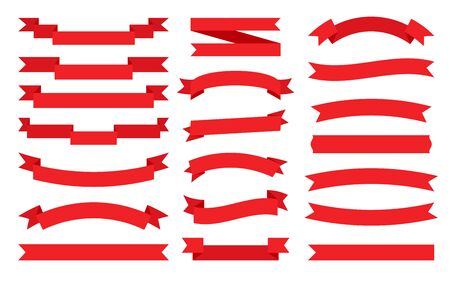 Red ribbon flat set. Retro flag, blank tape for text, price tag, sale label. Empty different shape simple ribbons template. Decorative cartoon paper banner. Isolated on white vector illustration