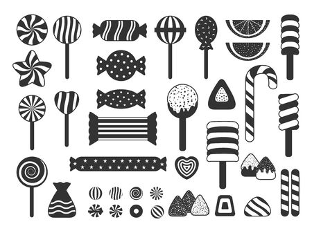Set of sweet candies icons silhouette. Jelly, candy cane assortment, lollipop, dragee, heart candy, marshmallow. Template great for design poster children holiday, banner. Isolated vector illustration