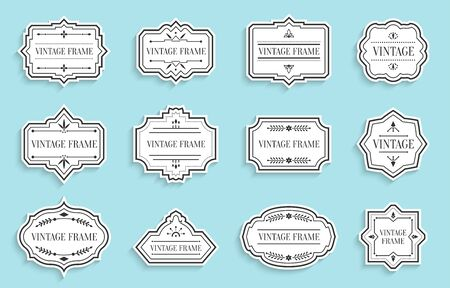 Retro vintage white labels paper cut set with shadow. Different shape empty border tag menu sale price with decorative elements. Package template for text banner, sticker. Isolated vector illustration