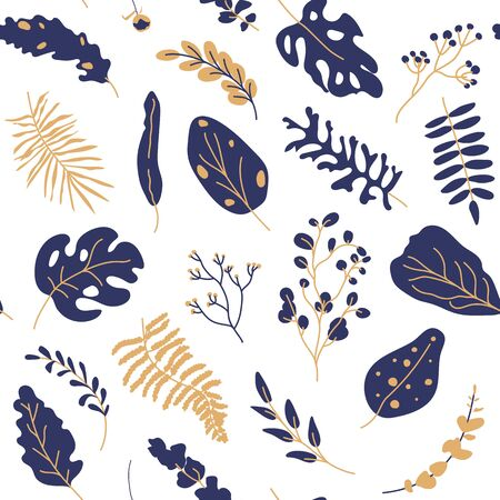 Tropical leaves gold dark blue seamless pattern. Abstract exotic floral flat cartoon elements limitless background with botany sign. Repeat ornament for paper wrap, fabric, print. Vector illustration