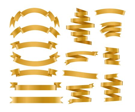 Shiny foil gold ribbon set. Metallic background banner. Congratulation gradient retro flag, tape for text, price tag, sale label. Blank template different shape. Isolated on white vector illustration