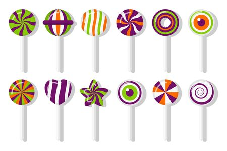 Lollipops Halloween candies with different spiral pattern set. Colorful treat for main holiday in october. Sweet sugar candy stick star, heart, eye with twisted design. Isolated vector illustration Ilustracja