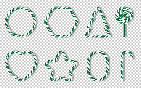 Christmas candies with different shape spiral pattern set. Green treat holiday winter. Sweet sugar cartoon noel candy cane, fir tree, star, heart, lollipops. Transparent background vector illustration