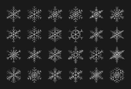 Elegant silhouettes of silver snowflakes icon set. Decorative elements for banner Merry Christmas and Happy New Year. Trendy different shapes of snow, gray gradient. Isolated vector illustration