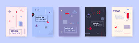 Geometric memphis cover template set. Trendy style art element and different shape background. Great for design magazine, pattern cover poster, banner. Backdrop with place for text Vector illustration
