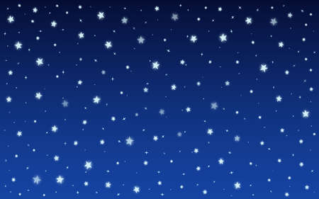 Stars shine on blue background. Winter night, snow glowing light effect. Template of decorative decoration backdrop for banner on christmas, birthday or wedding invitation cards. Vector illustration Stock Illustratie