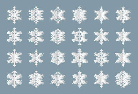 Snowflake flake silhouette set. Layered paper cut. Origami of snow different shape. Decorative elements for seasonal winter holidays banner or Christmas and Happy New Year Isolated vector illustration  イラスト・ベクター素材