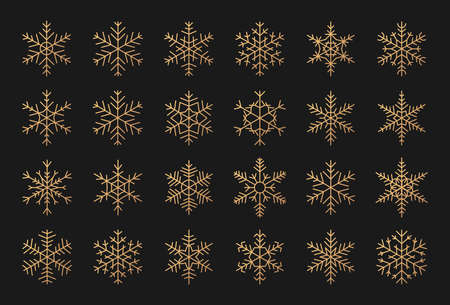 Elegant silhouettes of gold snowflakes icon set. Decorative elements for banner Merry Christmas and Happy New Year. Trendy different shapes of snow, golden gradient. Isolated vector illustration