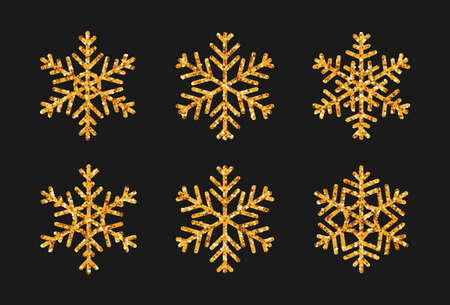 Set of snowflake with gold glitter effect. Icon snow Christmas decoration sparkles golden glow. Elegant New Year design element. Glittering winter ice ornament. Isolated on black vector illustration.  イラスト・ベクター素材