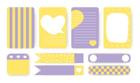 To do list, sticker and duct tape set. Cute planner notebook page. Note paper with abstract heart of hand drawn shapes. Template card great for printable kids organizer Background vector illustration
