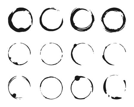 Set of brush strokes circles of paint. Grunge texture coffee ring stains. Template glyph for round frames, icons, design elements. Black abstract logo, label, circle. Isolated vector illustration