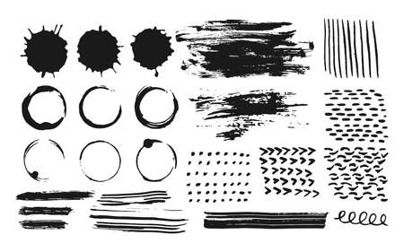 Abstract set of ink strokes, coffee circles of paint, splashes and drop. Hand drawn doodle element dot, dabs, wavy line. Stains grunge splatter texture for banner Vector brushes Isolated illustration