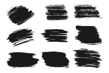 Different hand drawn ink brush strokes set. Stamp label for artistic design. Grungy texture, dirty banners and text boxes. Abstract lines black paint for digital brushes. Isolated vector illustration 向量圖像