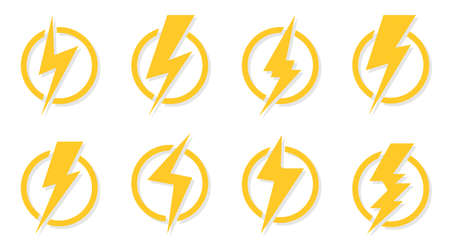 yellow lightning bolt icons set electrical strike sign in circle royalty free cliparts vectors and stock illustration image 154388080 123rf com