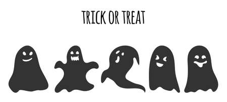 Black silhouette ghost set. Happy Halloween character with scary or surprised face shape. Creepy funny cute spook. Great for design postcards on holiday. October horror. Isolated vector illustration