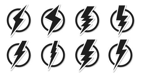 Set of black lightning bolt icons. Electrical strike sign sticker in circle. Design voltage power and danger of electric shock. Symbol energy and thunder electricity Isolated vector illustration Vettoriali