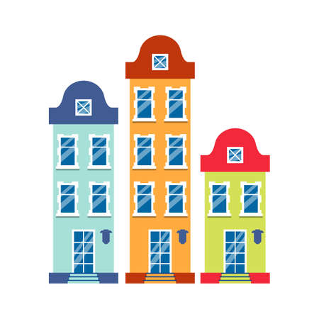 Three cartoon houses colorful architecture Amsterdam. Closeup graphic icon townhouse, european style. Flat urban building tall town and suburban home cottage. Isolated on white vector illustration Ilustracja