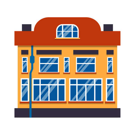 Icon cartoon house colorful architecture Amsterdam. Closeup graphic townhouse, european style. Single flat urban building tall town and suburban home cottage. Isolated on white vector illustration