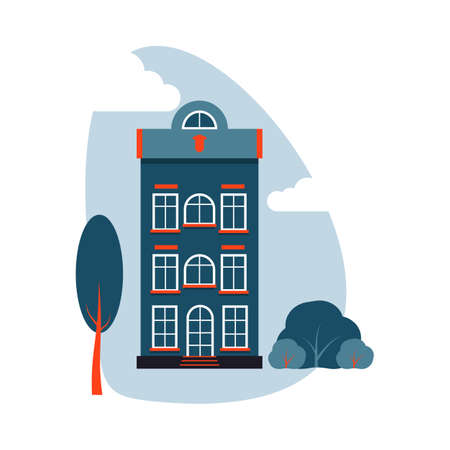 Cartoon colorful architecture Amsterdam, exterior classic building facade flat style with tree, bush, clouds. Banner of composition tall house, landscape closeup. Isolated on white vector illustration Ilustracja