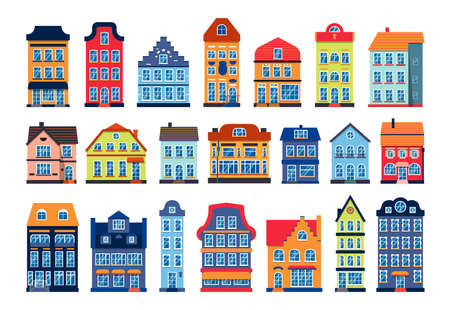 Cartoon houses colorful architecture Amsterdam set. Different graphic icon townhouse, european style. Flat urban building tall town and suburban home cottage. Isolated on white vector illustration Ilustracja