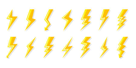 Yellow lightning bolt icons set. Electrical strike with arrow, shock lightning. Symbol electricity, energy and thunder. Sign voltage and power. Flat with shadow. Isolated vector illustration