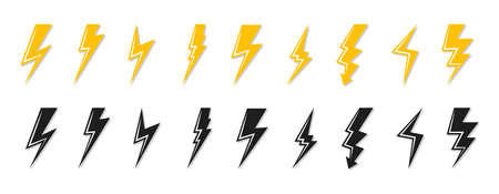 Set of black and yellow lightning bolt icon. Template flash emblem shiny shock. Electrical strike sign or energy symbol and thunder electricity.