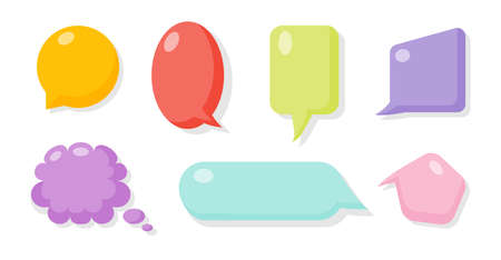 Colored comic speech soap bubble set. Cartoon empty text box clouds. Funny abstract different shapes of balloon. Glossy bubbles gum blank icon. Comics message template. Isolated vector illustration