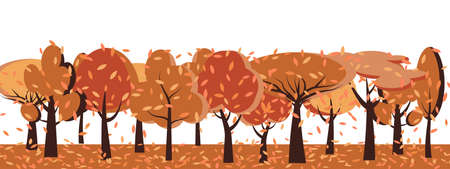 Autumn season with orange trees oak, birch, fir. Flat cartoon red nature forest landscapes. View of woods. Wildlife background for banner, greeting card, poster or advertising. Vector illustration Vettoriali