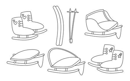 Winter sports equipment, activity holiday time outdoor. Set of black linear sleigh or skiing, skates. Collection traditional Christmas mode transport for children Isolated on white vector illustration