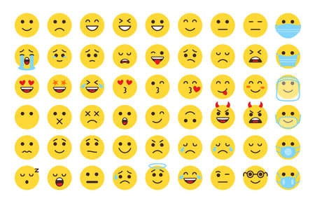 Emoji face icon set. Different type flat emoticon smile collection. Mood or facial emotion symbol. Faces expressing laugh, joyful, sad, angry. Emoticons in mask. Isolated on white vector illustration Ilustración de vector