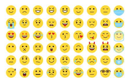 Emoji face icon set. Different type flat emoticon smile collection. Mood or facial emotion symbol. Faces expressing laugh, joyful, sad, angry. Emoticons in mask. Isolated on white vector illustration Vektoros illusztráció