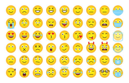 Funny cartoon emoji of yellow gradient. Mood or facial emotion symbol for digital chat app objects. Faces expressing crazy, funny, sad, angry. Emoticons in mask. Isolated on white vector illustration