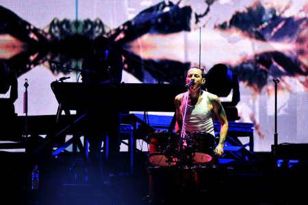 BANGKOK THAILAND SEPTEMBER 23 :Chester Bennington of Linkin Park perform on Linkin Park Live in Bangkok A Thousand Suns World Tour 2011 at Impact Maungthong Thani, September 23,2011 Bangkok Thailand