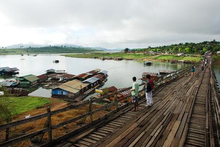 longest: The wooden bridge is the second longest in the world at Sangklaburi in Kanchanaburi, Thailand