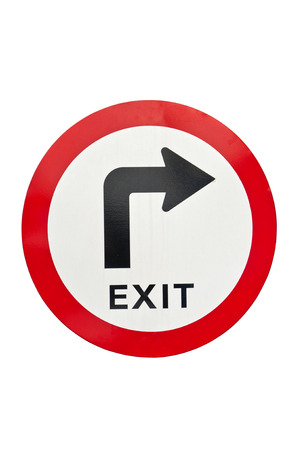 soliciting: Exit Sign isolated on white background Stock Photo