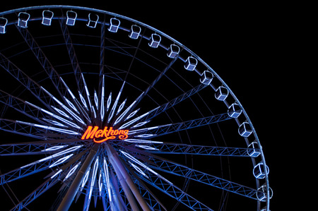 riverfront: BANGKOK,THAILAND - OCTOBER 18:  Ferris wheel in Asiatique The Riverfront,Asia tique the shopping mall on October 18, 2014.
