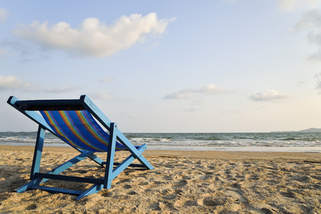 distric: Beach chair on the beach, Lam Mae Pim Beach, Rayong Distric, Thailand.