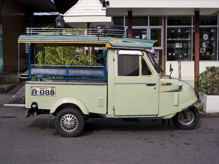 trang: TRANG - AUGUST 31, 2015 : Tuktuk motor tricycle symbol of Trang province on August 31, 2015 at Trang, Thailand.