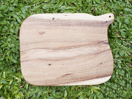 trencher: Wooden trencher chopping block on grass. Stock Photo