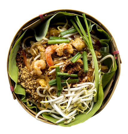 padthai: Thai style noodles or padthai isolate on white background, Delicious food on the banana lea Stock Photo