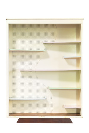 home furniture: Bookcase made of wood isolated on white background.